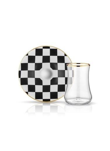 Koleksiyon Dama Siyah Beyaz Parlak Altın 6 Lı Çay Seti Siyah
